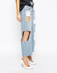 Cheap Monday Omega Cropped Torn Apart Jeans Blue