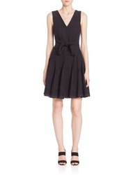 Rebecca Taylor Sleeveless Embroidered Gauze Dress Black