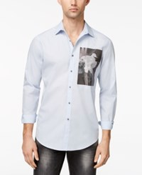 Inc International Concepts Men's Photo Print Shirt Created For Macy's Billowing Cloud