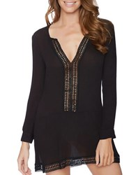 Athena Willow Cotton Crochet Tunic Black
