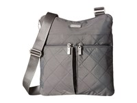 Baggallini Quilted Horizon Crossbody With Rfid Wristlet Pewter Quilt Cross Body Handbags Gray