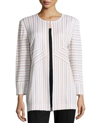 Misook Metallic Stripe Hook Front Jacket White Gold