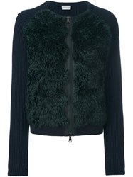 Moncler Faux Fur Panel Cardigan Blue