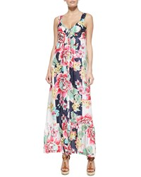 Neiman Marcus Sleeveless Floral Print Button Front Long Dress Petite Women's Multi Print A