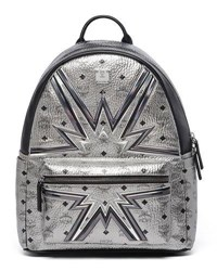 Mcm Stark Cyber Flash Medium Backpack Silver