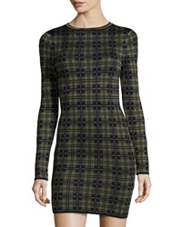 Torn By Ronny Kobo Mamie Stretch Knit Sweater Dress Green Combo