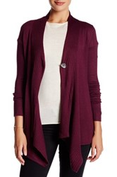 Cable And Gauge Accent Button Drape Cardigan Red