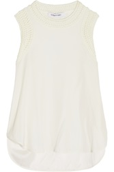 Elizabeth And James Crochet Knit Trimmed Silk Tank White