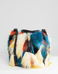 Ugg Lidiya Faux Fur Patchwork Bucket Bag Multi