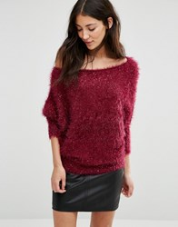 Pussycat London Jumper In Glitter Fabric Red