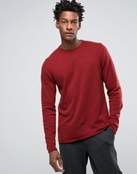 Troy Roll Edge Jumper With Crew Neck Red