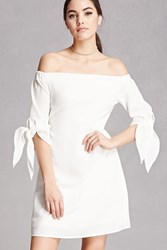 Forever 21 Off The Shoulder Cutout Dress White