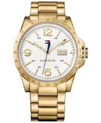 Tommy Hilfiger Men's Casual Sport Gold Tone Ion Plated Stainless Steel Bracelet Watch 46Mm 1791256