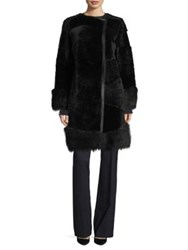 Boss Sopora Leather And Shearling Coat Black