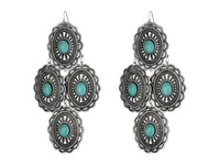 Mandf Western Oval Turquoise Concho Chandelier Earrings Silver Turquoise Earring Multi