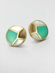 Ippolita Chrysoprase Mother Of Pearl And Brown Shell Earrings