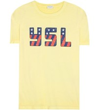 Saint Laurent Printed Cotton T Shirt Yellow