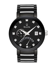 Bulova Mens Black Stainless Steel Diamond Watch Silver