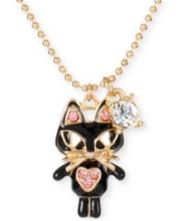 Betsey Johnson Gold Tone Crystal Cat Pendant Necklace