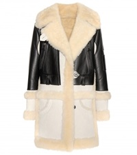 Coach Shearling Trimmed Leather Coat Black