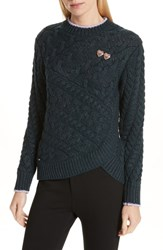 Ted Baker London Colour By Numbers Charo Cable Knit Sweater Dark Green