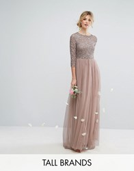 Maya Tall 3 4 Sleeve Maxi Dress With Delicate Sequin And Tulle Skirt Mink Pink