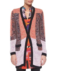 Etro Colorblock Knit Long Sleeve Cardigan Pink Multi