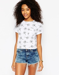 Asos Cropped T Shirt With Pocket And Dandelion Print White