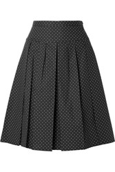 Michael Kors Collection Pleated Polka Dot Stretch Cotton Poplin Skirt Black
