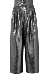 Marc Jacobs Sequined Tulle Wide Leg Pants Silver
