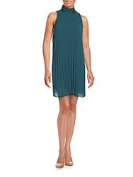 Max Studio Sleeveless Pleated Shift Dress Evergreen