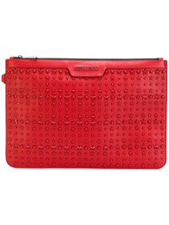 bc4ba2565165 Jimmy Choo  Derek  Studded Pouch Leather Red