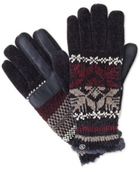 Isotoner Signature Chenille Snowflake Knit Palm Gloves Navy