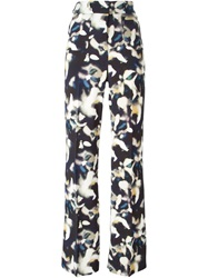 Cacharel Blurred Print Flared Trousers Blue