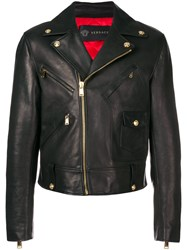 Versace Calf Leather Biker Jacket Black
