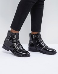 Morgan Studded Strap Ankle Boot Black