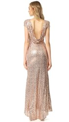 Badgley Mischka Collection Sequin Cowl Back Gown Blush