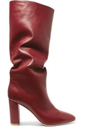 Gianvito Rossi Laura 85 Leather Knee Boots Burgundy