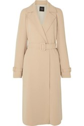 Theory Belted Crepe Trench Coat Beige