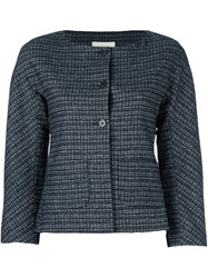 L'autre Chose Plaid Cropped Fitted Jacket Blue