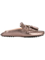 Tod's Tassel Loafers Women Leather Rubber 37.5 Metallic