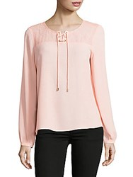 Karl Lagerfeld Lace Up Crepe Blouse Sherbert