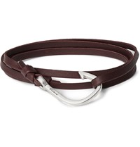 Miansai Grained Leather And Silver Plated Hook Wrap Bracelet Burgundy