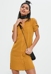 Missguided Yellow Pocket Front Shirt Dress Mustard