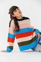 e15c57459e Urban Outfitters Uo Colorblock Striped Sweater Blue Multi