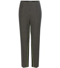 Prada Plaid Wool Trousers Green