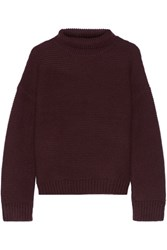 Vince Textured Wool And Cashmere Blend Turtleneck Sweater Merlot