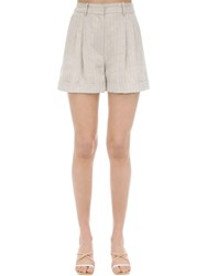 Racil High Waist Pinstriped Linen Shorts Beige