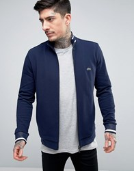 Lacoste Pique Track Jacket Small Logo In Navy Marine