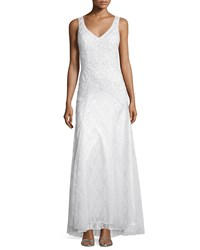 Sue Wong Sleeveless Embellished Mermaid Gown White Women's